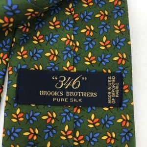 Brooks Brothers Green Floral Silk Tie
